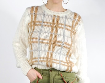 Vintage Knit Sweater - 70's 80's Plaid Sweater - Cream Knit Top - Size S/M