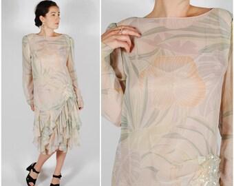 Vinage Sheer Tropical Dress - 80's Ruffle Sequin Dress Set -
