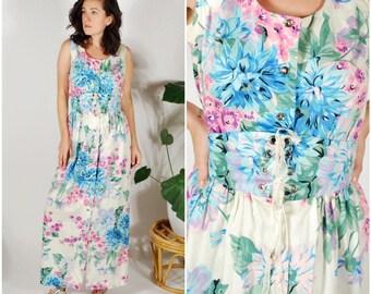 1960's Floral Dress Set - 60's Polished Cotton Skirt Set - 2 PC. Matching 60's set - Size M