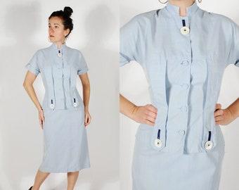 1940's Suit - 40's Skirt Suit - Blue Striped 2 Pc. Skirt Jacket Set - Size S