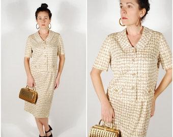 1960's Suit - 60's Mod Skirt Suit - 60's 2 Piece Spring Set - Size M