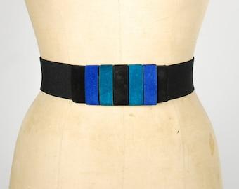 Vintage Color Block Suede Belt - Elastic Cinch Waist Belt