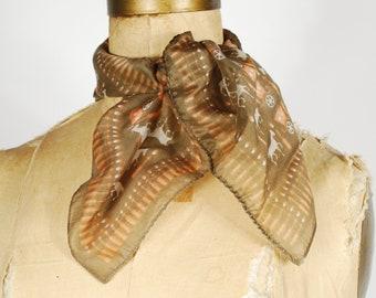 Vintage Horse Print Scarf - Brown Orange Fall Neck Scarf