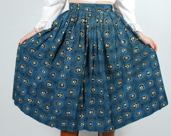 "1950's Cotton Printed Skirt - 50's Blue Full Skirt - 29"" Waist"