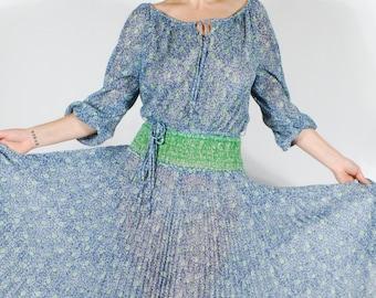 1970's Bohemian Dress - 70's Sheer Gauzy Pleated Peasant Dress - Size M/L