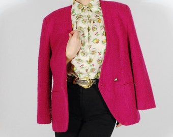 Vintage Hot Pink Blazer - 80's Boucle Jacket - Oversized Blazer