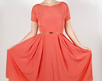 1950's Coral Dress - 50's Rayon Party Dress - Vintage Pink Valentines Dress - Size XS