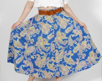 Vintage Paisley Print Skirt - Cotton Full Skirt with Pockets