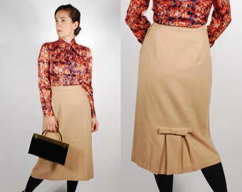 1960's Pencil Skirt - Camel Color Wool Skirt - Pleated Bow Skirt - Size M