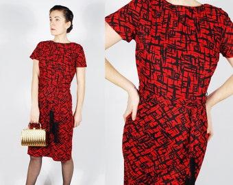 Vintage 50's 60's Red Dress - 50's Sheath Fringe Dress - Valentines Day Dress - Size Small