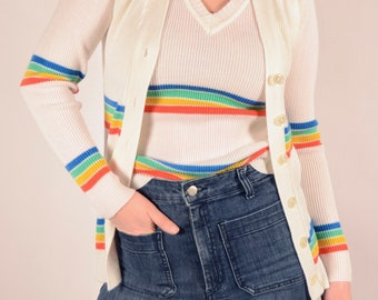 1970's Rainbow Sweater Set - 70's Sweater Vest & Cardigan - Size Small