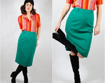 Vintage Pencil Skirt - 80's Wool Wiggle Skirt - Kelly Green Skirt - Size Small