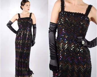 1960's Evening Gown - 60's 70's Sequin Prom Dress - Lilli Diamond Dress - Size Small