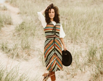 1970's Skirt Set - 70's Chevron Striped 2 pc Set