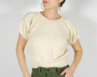Vintage Knit Sweater Top - Cream Knit Short Sleeve Sweater - Size Small