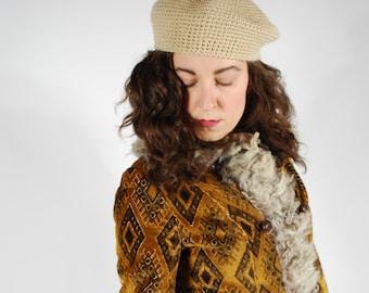 1970's Knit Beret - Beige Fall Tam Hat