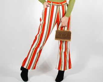 "1970's Striped Flares - 70's High Waisted Trousers - Big Yank Pants - 28"" 29"" Waist"