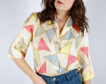 1960's Silk Geometric Print Blouse - Abstract Neon Top - Size M/L