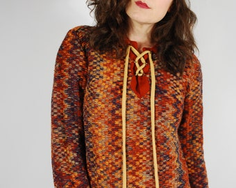 70's Lace Up Sweater - 70's Multi-Colored Knit Sweater - Size S/M