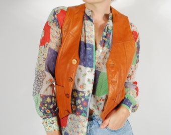 1970's Leather Vest - Fitted Camel Leather Vest - Size Small