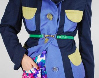 90's Color Block Blazer - Navy Blue Harve Benard Jacket - Size M
