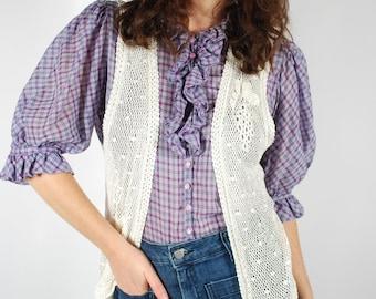 1970's Crochet Vest - White Bohemian Vest - Size S/M