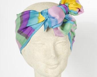 Vintage Rainbow Striped Head Scarf - Striped Neck Scarf