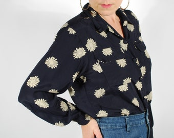 Vintage Rayon Floral Blouse - Navy Blue Fall Blouse - Size M