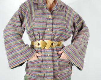 1970's Striped Coat - 70's Rainbow Fleece Jacket - Size M/L
