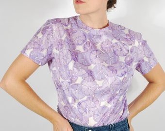 Vintage 1960's Printed Blouse - Purple Short Sleeve Top - Size Small