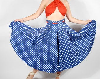 1950's Polk Dot Circle Skirt - 50's Skirt & Wrap Top Set - Size