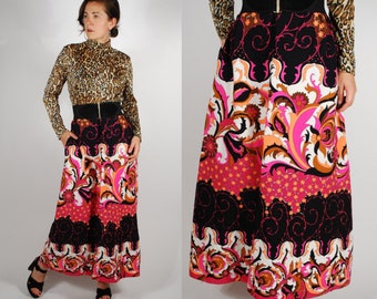1960's Maxi Skirt - 60's 70's Psychedelic Neon Skirt - Size M