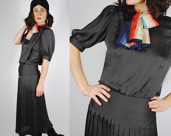 1980's Polka Dot Dress - 1920's Style Drop Waist Dress - Pleated Black Dress - Size S/M