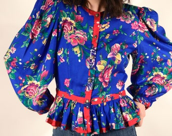 1980's Floral Rayon Blouse - 80's Peplum Balloon Sleeve Top - Size M