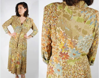 1980's Rayon Dress - 1940's Style Floral Dress - Size Large