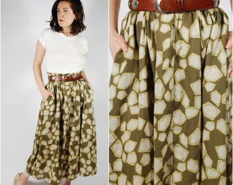 80's 90's Midi Skirt - Green Print Rayon Skirt - Spring Summer Skirt - Size Large