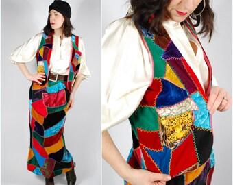 60's 70's Skirt Vest Set - 60's Patchwork Velet Maxi Skirt - Boho Hippie Vest - Size S/M