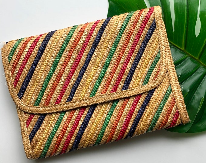 Featured listing image: Vintage Rainbow Striped Straw Clutch Purse