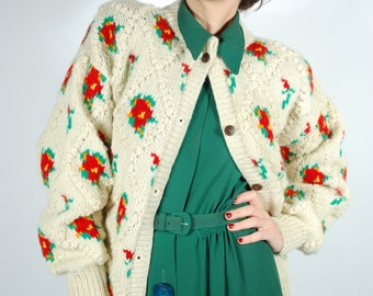 1980's Floral Knit Cardigan - Popcorn Knit Oversized Wool Sweater - 1980's does 1940s Sweater - Size L