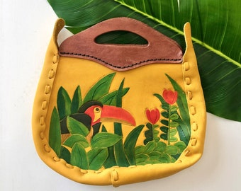 1970's Tooled Leather Purse - 70's Hand Painted Bird Handbag