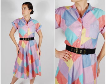 1950's Style Pastel Plaid Dress - 80's Fit & Flare Checked Dress - Vintage Spring Dress