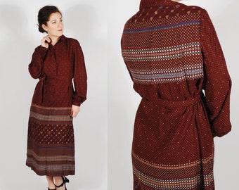 Vintage 1960's Dress- 60's Printed Cotton Shirtwaist Dress - Red Winter Dress - Size Large