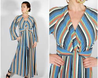 3eedcac61a335 1970's Rainbow Robe - 70's Terry Cloth Kaftan - Striped Cover Up