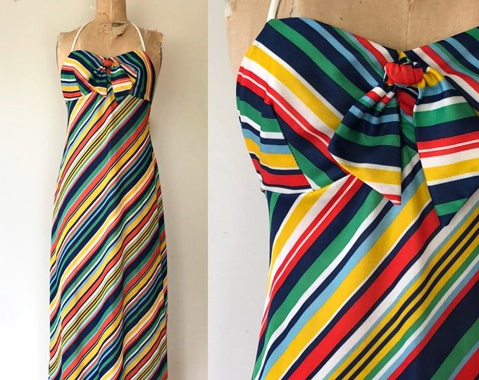 Featured listing image: 1970's Rainbow Striped Maxi Dress - 70's Striped Halter Dress - Size Small