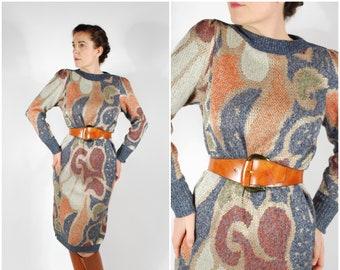 Vintage Sweater Dress - 80's Knit Midi Dress - Printed Fall Knit Dress - Size M