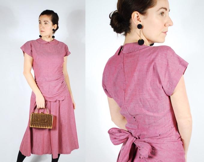Featured listing image: 1940's 50's Purple Cotton Peplum Dress - 40's Betty Barclay Dress - Size M