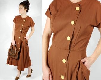 1940's Brown Gaberdine Dress - 40's Brown Yellow Day Dress - Size M