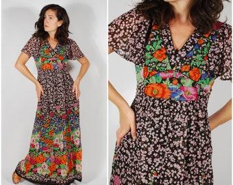 1970's Foral Maxi Dress - 70's Black Poppy Print Dress - Size Small
