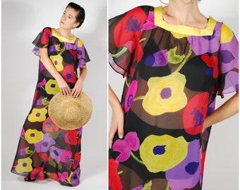 1970's Sheer Kaftan Dress - 70's Black Floral Print Dress - Open Fit