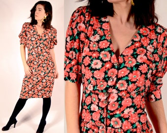 1980's does 1940's Floral Rayon Dress - Size Small